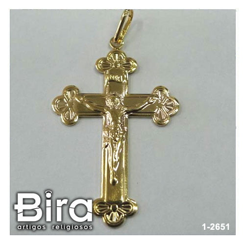 pingente folheado crucifixo arabesco