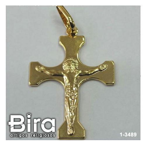 pingente folheado crucifixo portuguesa