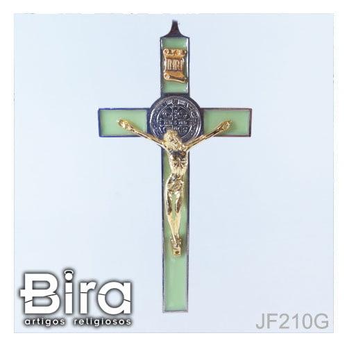 crucifixo sao bento metal verde