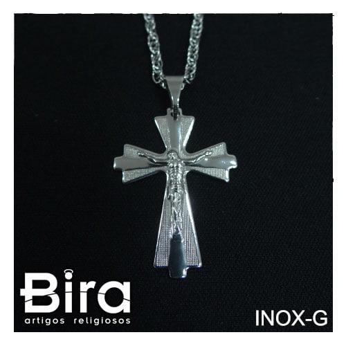corrente crucifixo inox grande