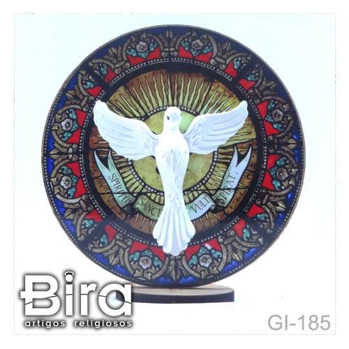 quadro redondo madeira divino espirito santo