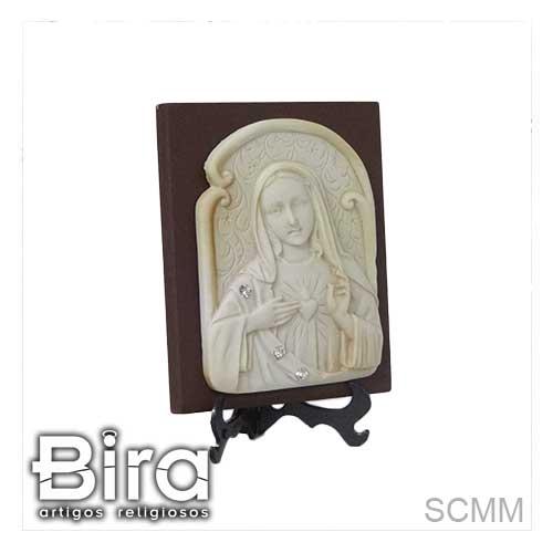 quadro, madeira, sagrado coracao de maria, resina