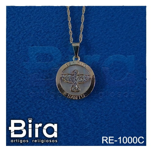 corrente medalha redonda divino espirito santo strass