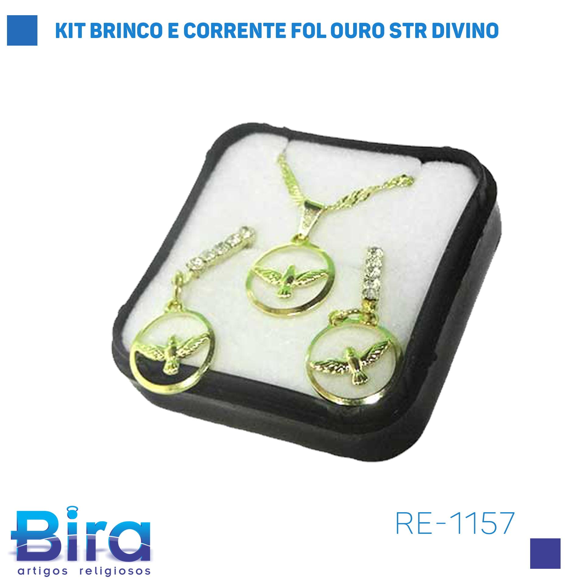 Bira Artigos Religiosos - KIT BRINCO E CORRENTE FOL OURO STR DIVINO Cód. RE-1157