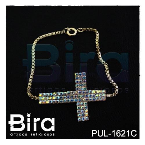 Bira Artigos Religiosos -  PULSEIRA FOLHEADA CRUZ  CRISTAL BOREAL COLOR - CÓD. PUL-1621C