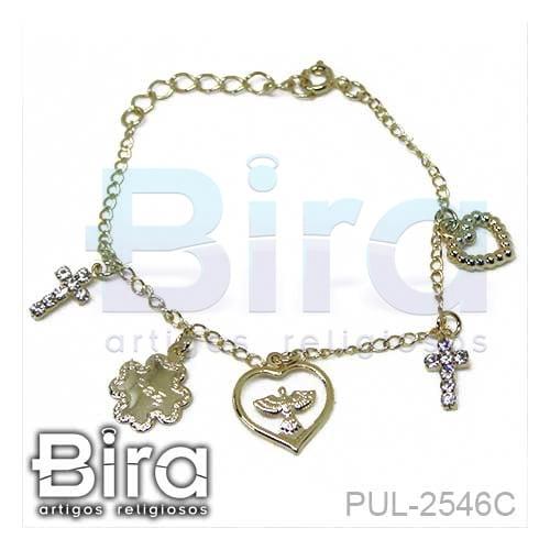 pulseira, folheada, coracao, cruz e divino