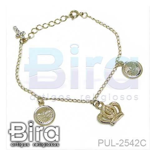 pulseira, folheada, cruz, coroa, divino