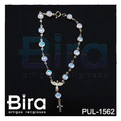 pulseira folheada divino espirito santo cristal furta cor