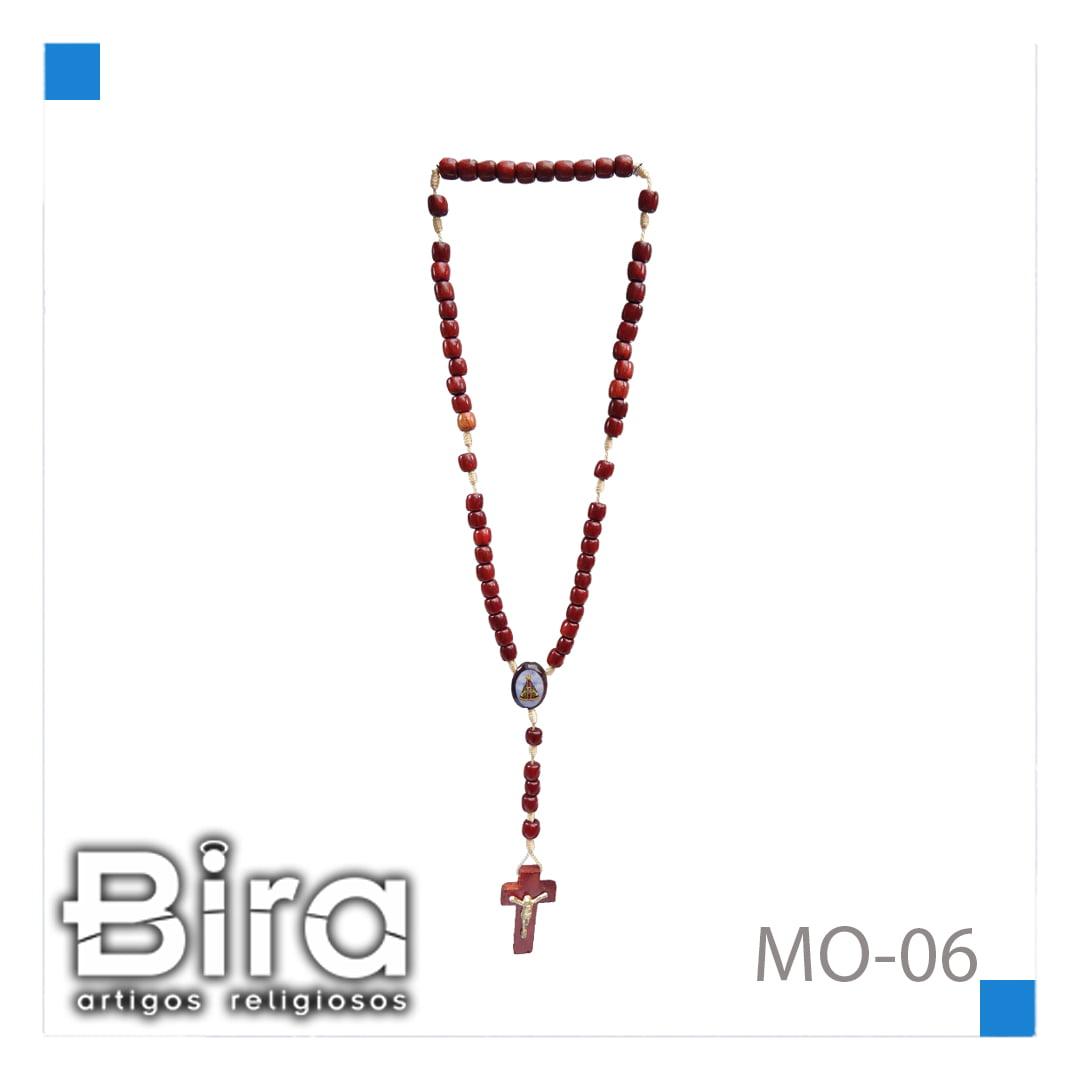 Bira Artigos Religiosos - TERÇO PAU BRASIL C/ MED. C/ 03 UND - CÓD. MO-06