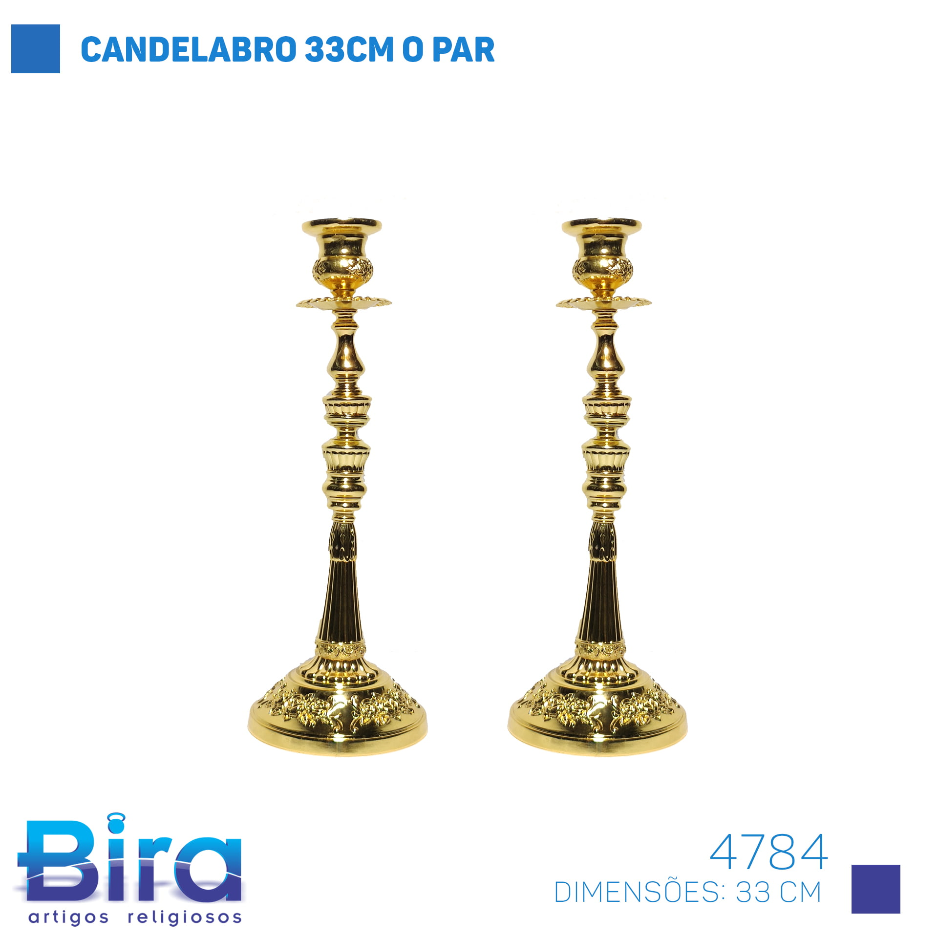 Bira Artigos Religiosos - CANDELABRO 33CM O PAR COD. 4784