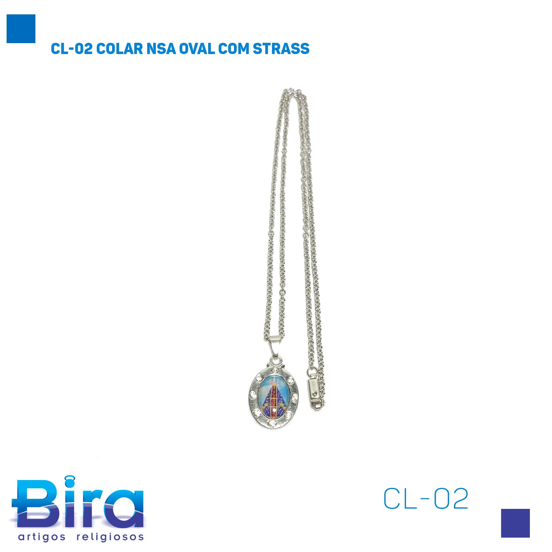 Bira Artigos Religiosos - CL-02 COLAR NSA OVAL COM STRASS Cod. CL-02