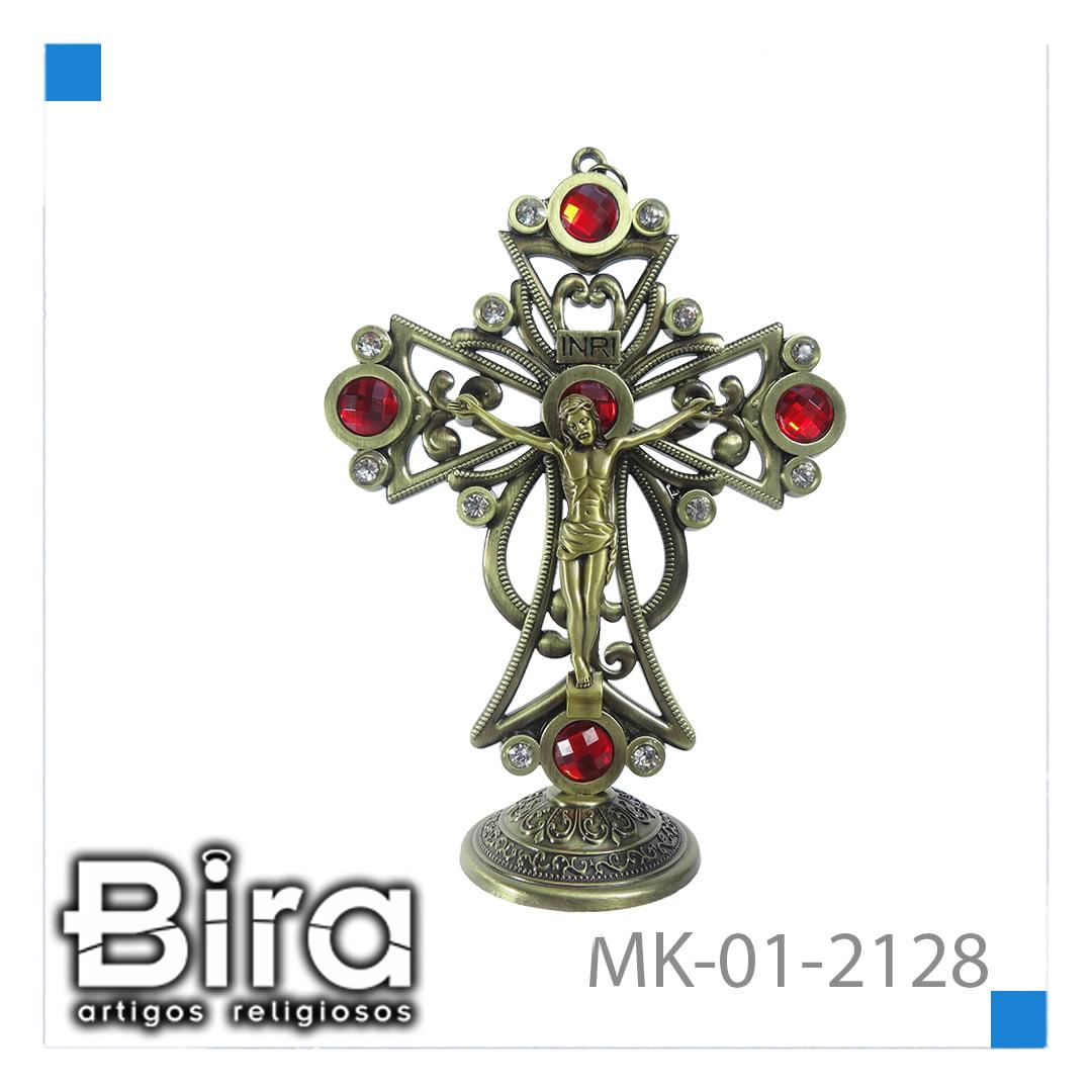 Bira Artigos Religiosos - CRUCIFIXO DE 15 CM  C/ STRASS - CÓD. MK-01-2128