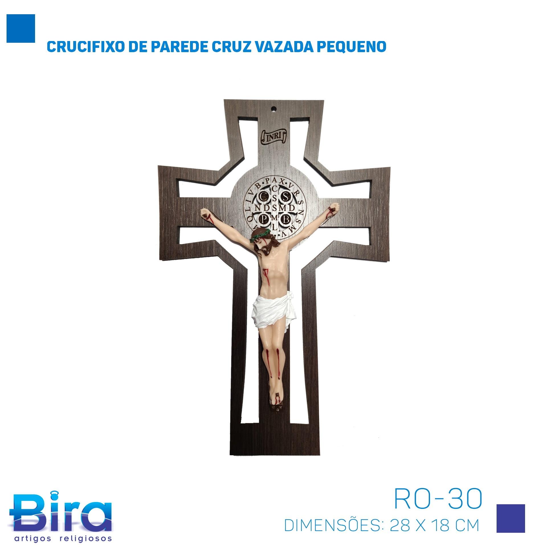 Bira Artigos Religiosos - CRUCIFIXO DE PAREDE CRUZ VAZADA PEQUENA