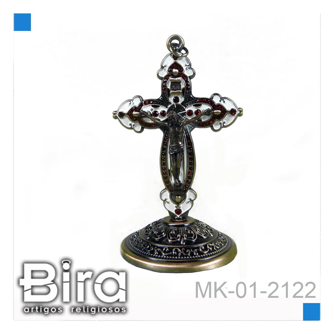 Bira Artigos Religiosos - CRUCIFIXO METAL  DE MESA  C/B - 10CM  - CÓD. MK-01-2122