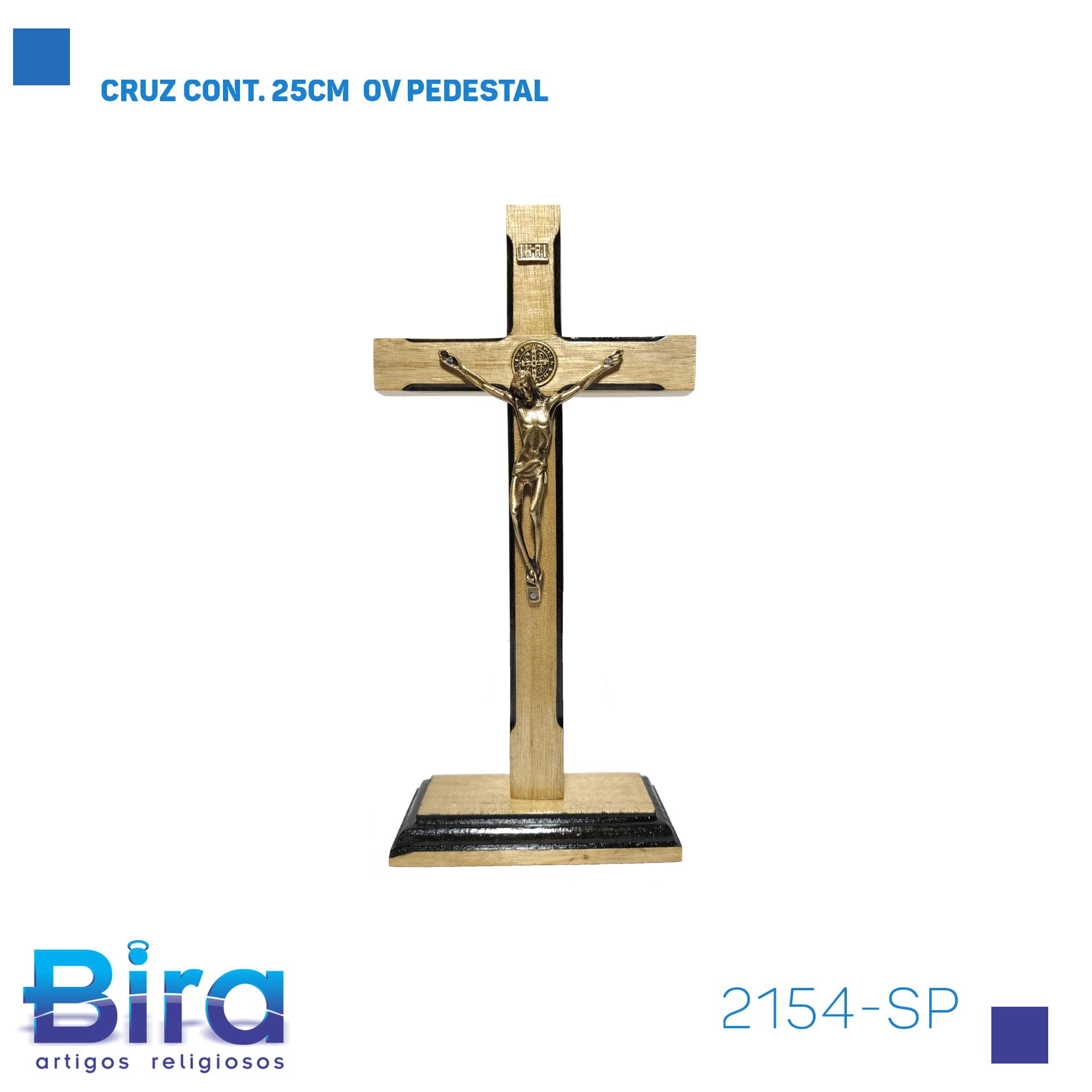 Bira Artigos Religiosos - CRUZ CONT. 25CM  OV PEDESTAL - Cód . 2154-SP