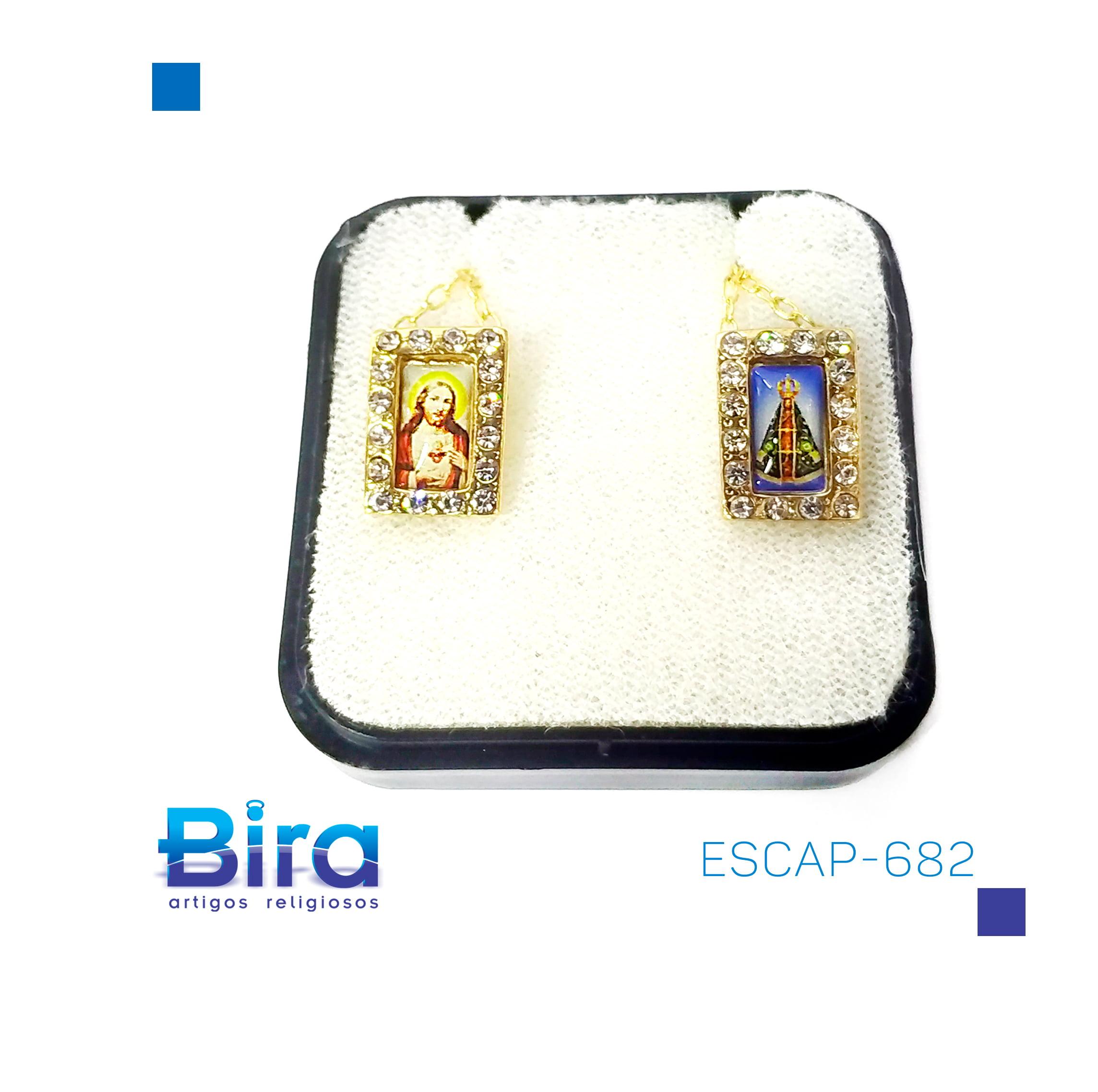 Bira Artigos Religiosos - ESCAPULARIO FOLHEADO A OURO STRASS - Cód ESCAP-682
