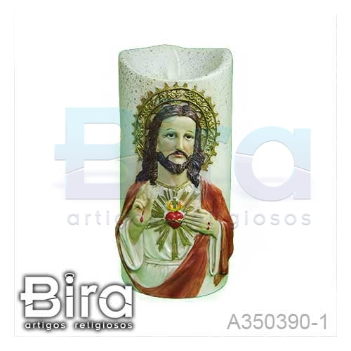 vela artificial resina sagrado coracao jesus