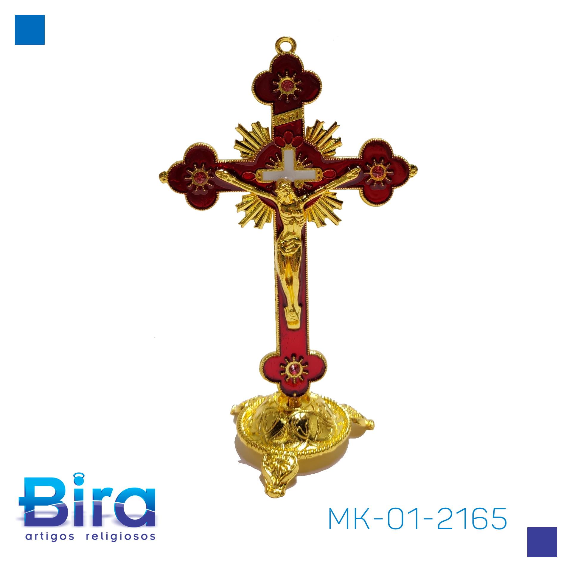 Bira Artigos Religiosos - CRUCIFIXO DE MESA DOURADO 13 CM - Cód. MK-01-2165