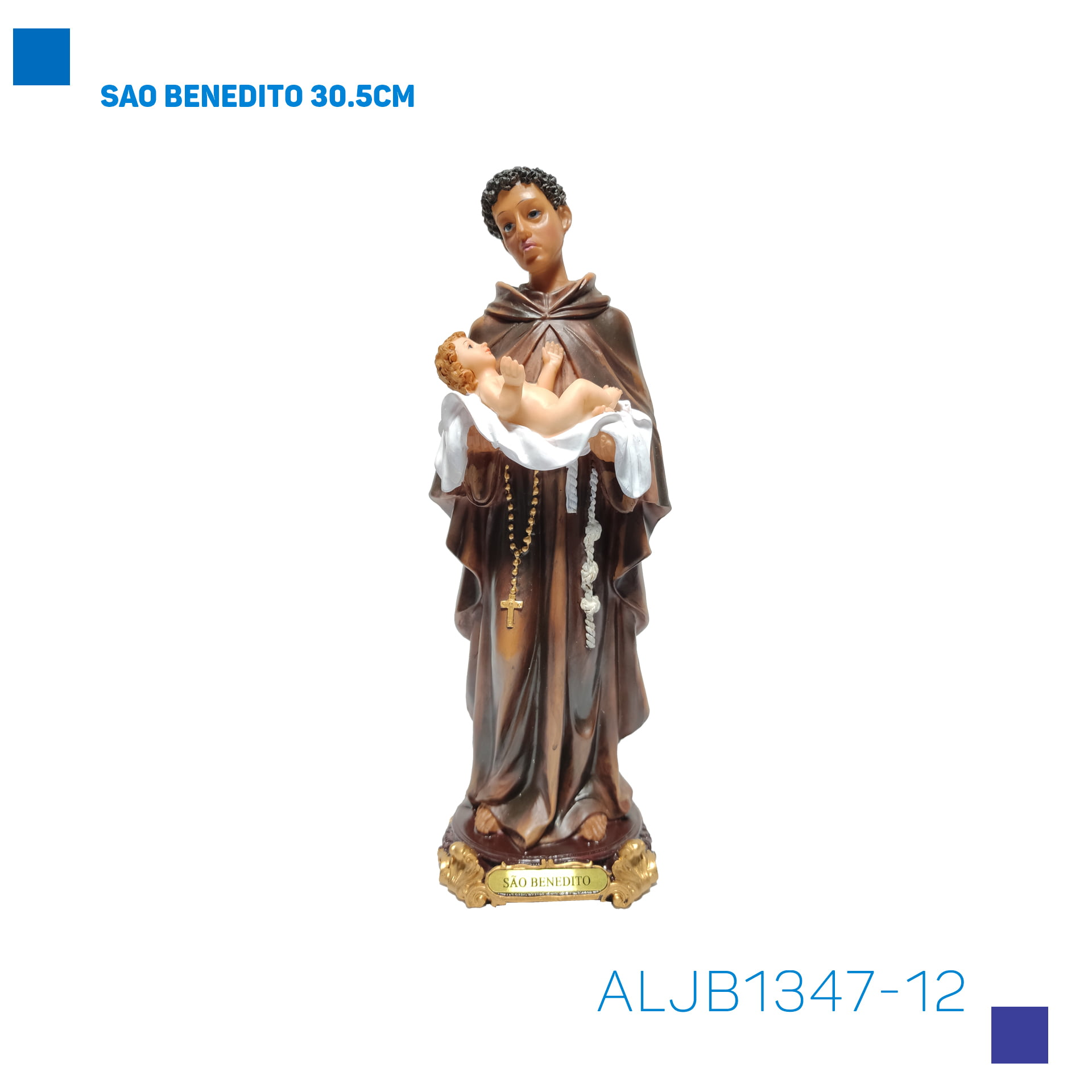 Bira Artigos Religiosos - SAO BENEDITO 30.5CM - Cód . ALJB1347-12