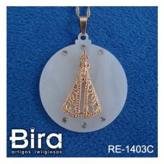 corrente medalha aparecida vazada