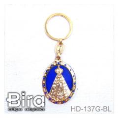 chaveiro metal aparecida dourada azul