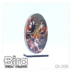 quadro mesa oval madeira imagem resinada