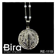 Corrente Com Pérola Medalha Grande de São Bento - Cód. RE-1119
