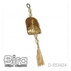 Adorno Dourado em Resina Sagrado Coração de Jesus - 9cm - Cód. D-553424