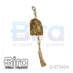 Adorno Dourado em Resina Sagrado Coração de Jesus e Maria - 9cm - Cód. D-573424