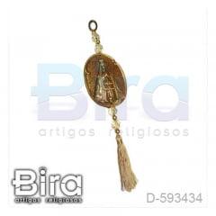 Adorno Dourado Oval em Resina N. Sra. Aparecida - 12cm - Cód. D-593434