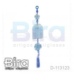 Adorno em Resina Azul Eucaristia com Flor - Cód. D-113123