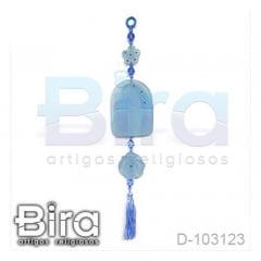 Adorno em Resina Azul Sagrado Coração de Jesus e Maria - Cód. D-103123