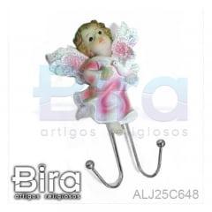 Anjo Infantil Rosa Com Suporte - 15cm - Cód. ALJ25C648