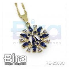 Corrente Com Pingente N. Sra. Aparecida Strass Azul - Cód. RE-2508C