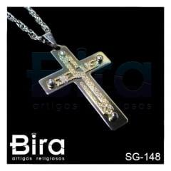 Corrente Com Cruz Inox Escrito Jesus - Cód. SG-148