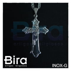 corrente cruz face cristo inox