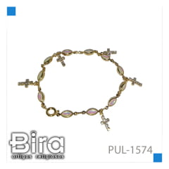Bira Artigos Religiosos - PULSEIRA FOLHEADA FURTA COR CRUZ - CÓD. PUL-1574