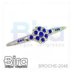 Broche Dourado Grande Com Strass - 6.5cm - Cód. BROCHE-2046