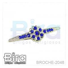 Broche Dourado Pequeno Com Strass - 3.5cm - Cód. BROCHE-2048