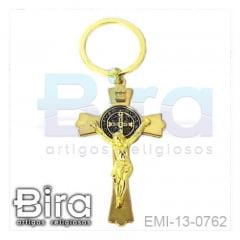 Chaveiro em Metal Cruz de São Bento Dourada - Cód. EMI-13-0762