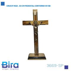 Bira Artigos Religiosos - CRUCIF MAD . 33 CM PEDESTAL CONTORNO OV SB Cód. 3669-SP
