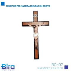 Crucifixo em Madeira Resinado de Parede - 28x16cm - Cód. RO-07