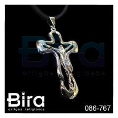 Cordão de Couro Com Crucifixo Vazado - Cód. 086-767