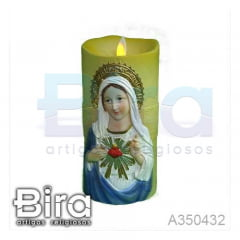 vela artificial resina sagrado coracao maria