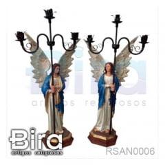 Anjo Com Candelabro - 90cm - Cód. RSAN0006